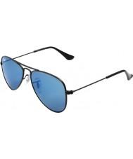 RayBan Junior Rj9506s 50 aviador preto fosco 201-55 azuis óculos de sol espelho