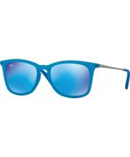 RayBan Junior Rj9063s 48 Azure fluo transparentes de borracha 701155 espelho óculos de sol