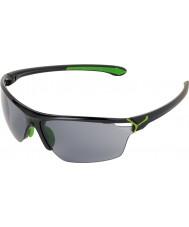 Cebe Cinetik grandes óculos de sol verdes pretos brilhantes