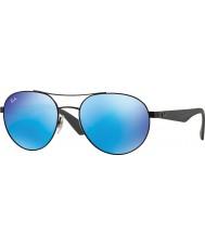 RayBan Rb3536 55 highstreet preto fosco 006-55 azuis óculos de sol espelho