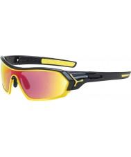 Cebe S-impressão óculos de sol amarelos pretos brilhantes