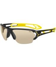Cebe S-track grandes óculos de sol pretos brilhantes