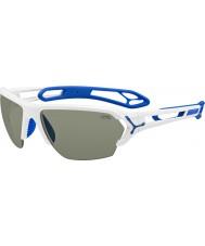 Cebe S-track grandes óculos de sol brancos brilhantes