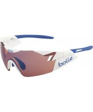Bolle 6o sentido branco brilhante levantou-se óculos de sol azuis