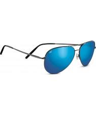 Serengeti aviador Médio brilhante gunmetal escuro 555nm óculos polarizados azul espelho