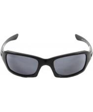 Oakley Oo9238-04 cincos quadrado preto polido - óculos de sol cinza