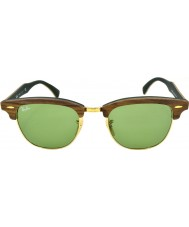 RayBan Rb3016m 51 Clubmaster borracha madeira de nogueira verde 11824e óculos de sol