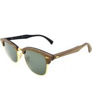 RayBan Rb3016m 51 Clubmaster borracha madeira de nogueira preta 118158 óculos polarizados