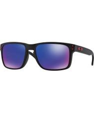 Oakley Oo9102-36 Holbrook preto fosco - óculos de sol vermelhos de irídio
