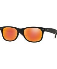 RayBan Rb2132 52 novas borracha wayfarer preto 622-69 óculos de sol espelho vermelhos