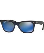 RayBan inclinação azul RB2140 50 wayfarer originais superior na luz azul 120368 azuis óculos de sol espelho
