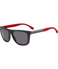 HUGO BOSS Mens chefe 0834-s hws 3h cinza escuro óculos polarizados vermelhos