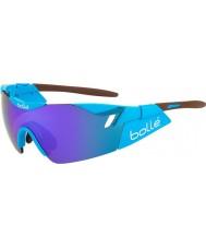 Bolle 6o sentido AG2R marrom óculos de sol azuis-violeta brilhante