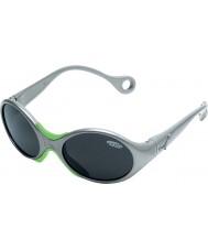 Cebe 1973 (idade 1-3) brilhante cinza metálico 2000 óculos de sol cinza