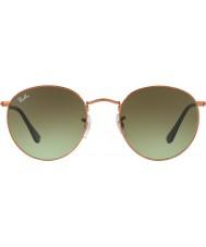 RayBan Rb3447 53 redonda de metal óculos de sol 9002a6 brilhante médio de bronze