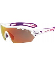 Cebe S-track mono médias brilhantes cor de rosa 1500 óculos de sol cinza espelho rosa brancas com lente de substituição clara