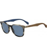 HUGO BOSS Mens chefe 0843-s chifre 9a IWF óculos de sol azuis marrons
