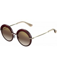 Jimmy Choo Senhoras Gotha-S 65L QH óculos de sol espelho Borgonha ouro
