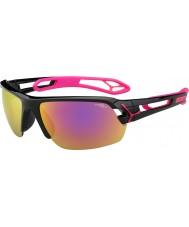 Cebe S-track meio brilhantes magenta preto 1500 óculos de sol cinza espelho rosa com lente de substituição clara