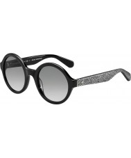 Kate Spade New York Senhoras Khrista-S S2J O0 prata óculos de sol pretos brilhantes