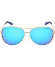 Michael Kors Mk5004 59 chelsea ouro rosa 100325 azul óculos de sol espelhados