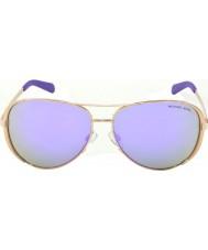 Michael Kors Mk5004 59 chelsea ouro rosa 10034v roxo óculos espelhados