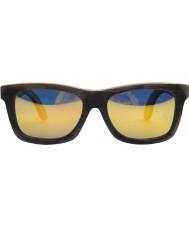 Swole Panda Marrom escuro óculos wayfarer bambu polarizada
